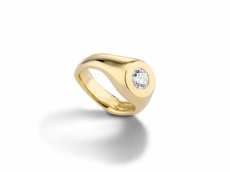Bezel-Set Diamond Engagement Ring in 18k Yellow Gold