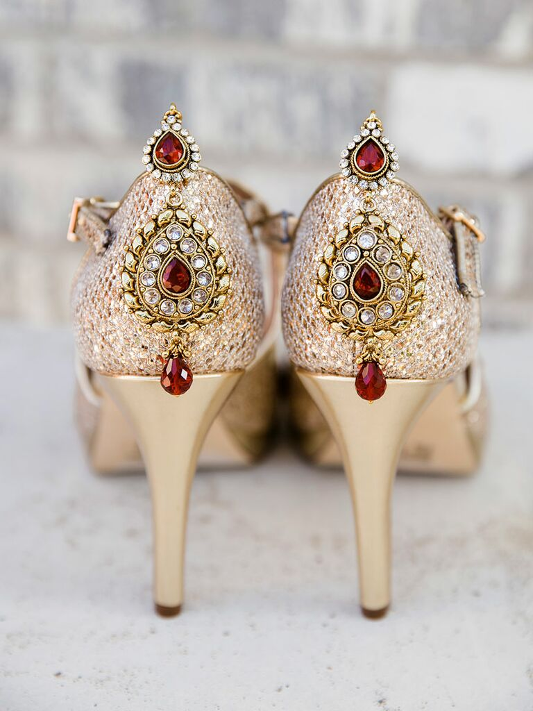 Sparkly gold wedding shoe pumps with beading for a traditional Indian wedding