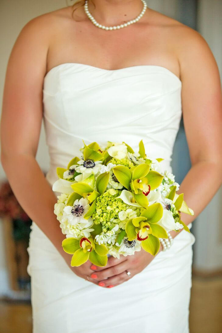White Anemone and Green Viburnum Bridal Bouquet