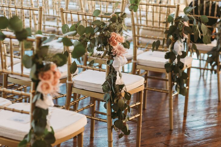 Gold Chiavari Chairs with Eucalyptus Garland and Pink Flowers
