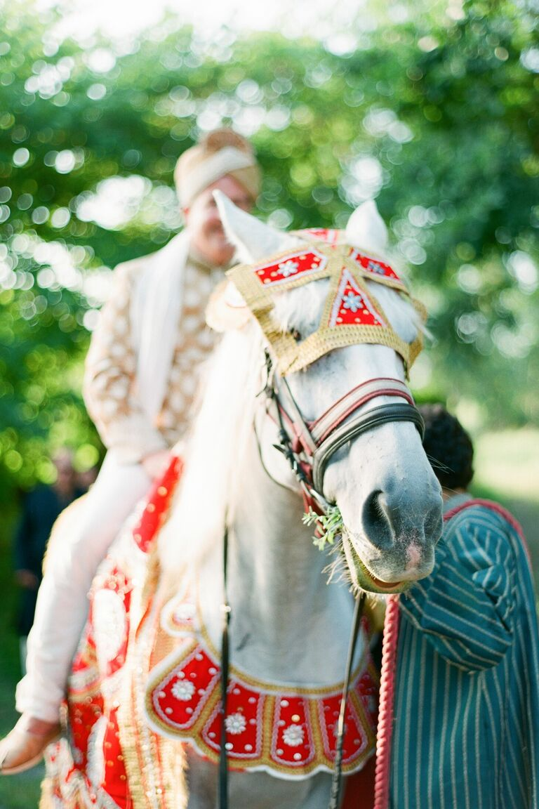 Groom on horse with red saddle for baraat
