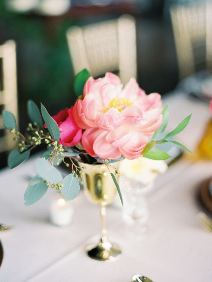 Vibrant Pink Peony and Eucalyptus Centerpieces in Gold Bud Vases