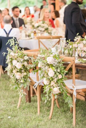 Cascading Garden Rose and Greenery Sweetheart Chair Swag