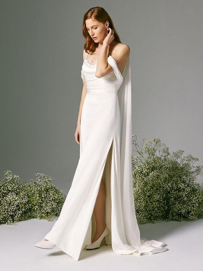 Savannah Miller satin draped wedding dress with spaghetti straps