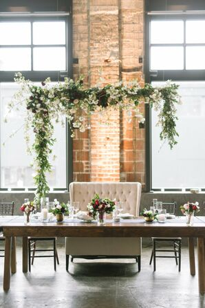 Suspended Greenery and Cherry Blossom Head Table Arch