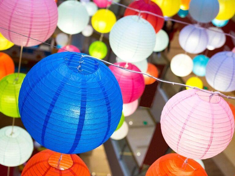 Colorful paper lanterns budget friendly wedding decoration idea