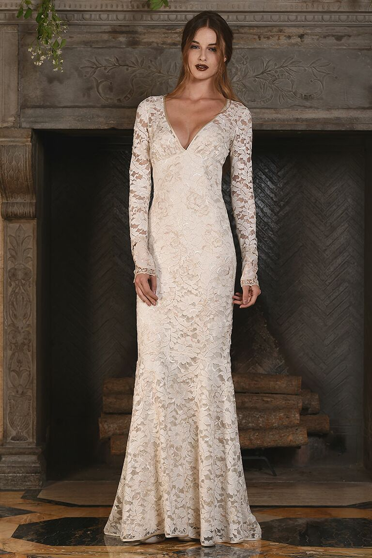 Claire Pettibone Off White Fit And Flare Lace Wedding Dress For Fall 2017