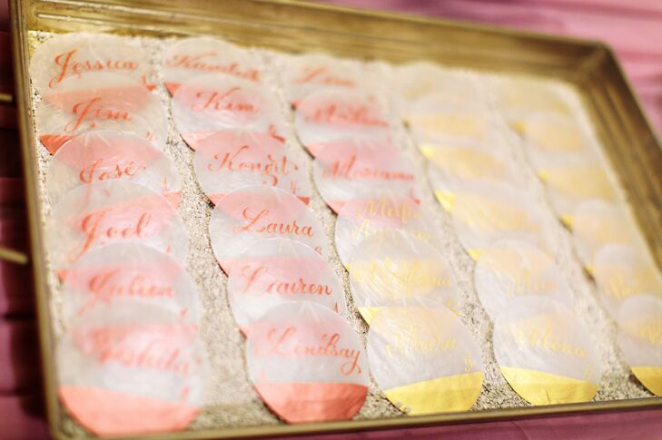 Personalized Escort Card Shells in Sand