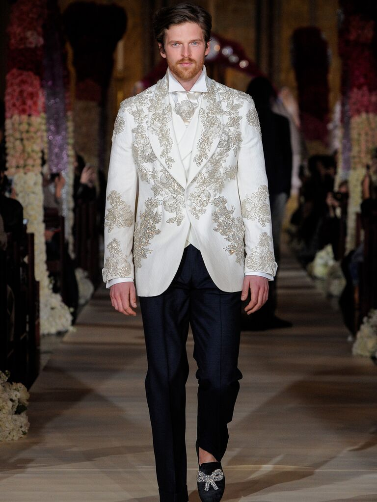 Joseph Abboud menswear groom look with embroidered white jacket