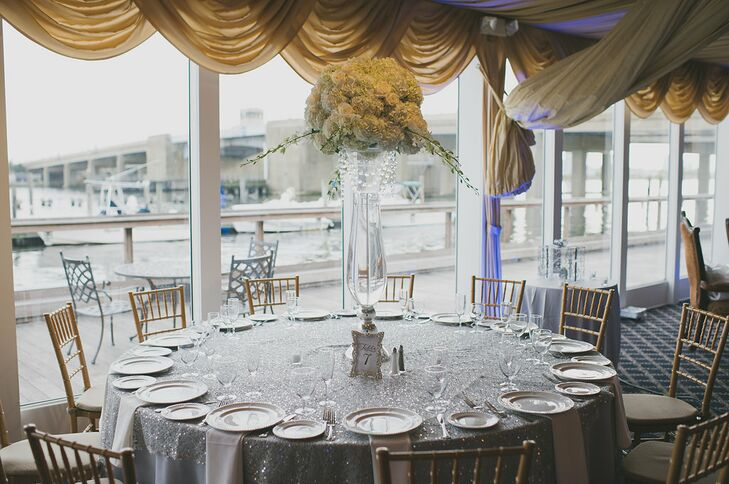 574b100bb82 Bridgeview Yacht Club Waterfront Wedding Reception. Favorite. A classic  palette of silver