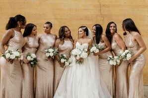 Wedding Party in Champagne-Hued Dresses in Hood, California