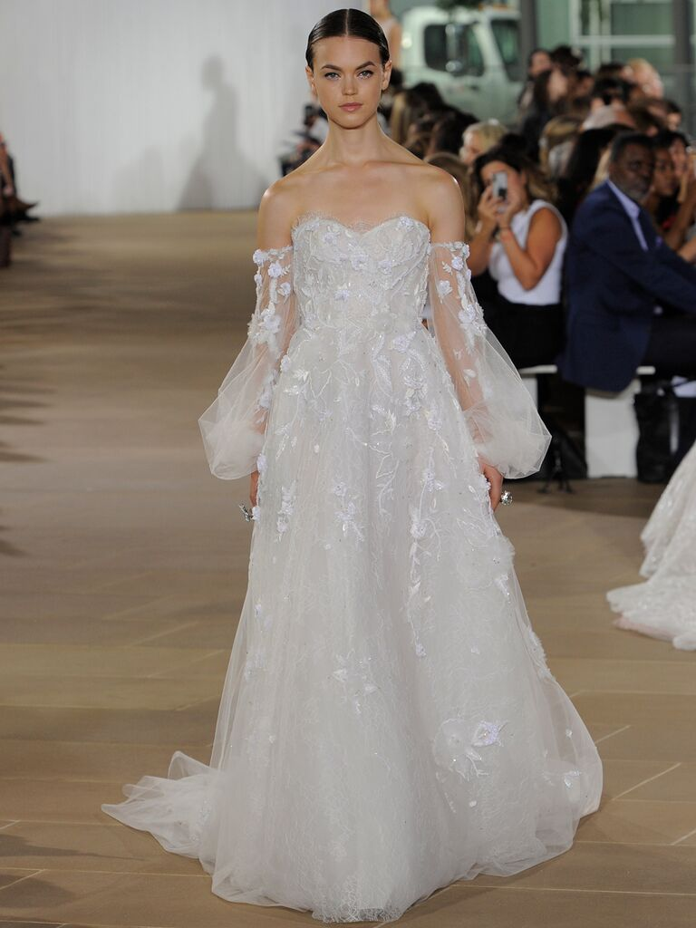 Ines Di Santo Fall 2019 floral-embroidered wedding dress with off-the-shoulder sheer puffy long sleeves
