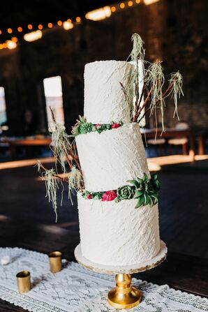 Tilted Tiered Cake with Succulents and Edible Spanish Moss