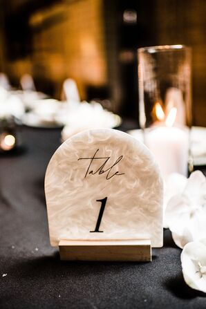 Elegant Marble Table Number with Calligraphy