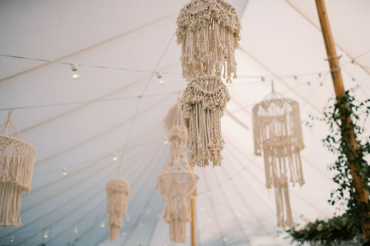 Bohemian Hanging Macramé Decorations in Reception Tent