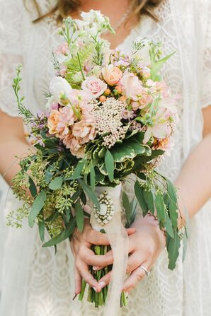 Pink Garden Bouquet with Seeded Eucalyptus