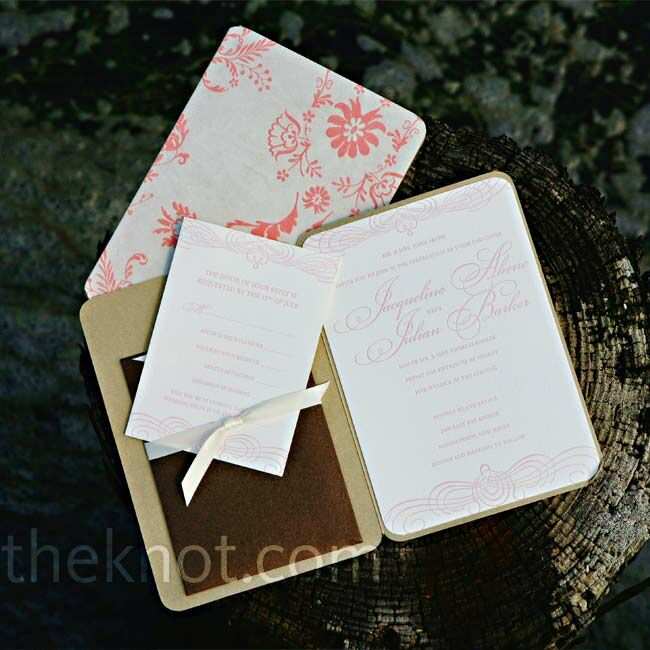 A formal, script font and a dainty floral motif set the tone for the couple's wedding style.
