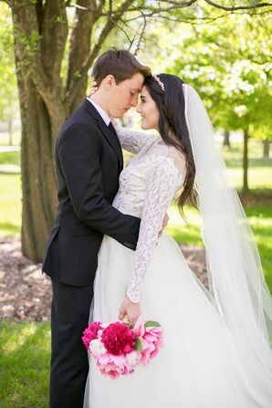 Lace Wedding Gown With Long Veil and Traditional Suit