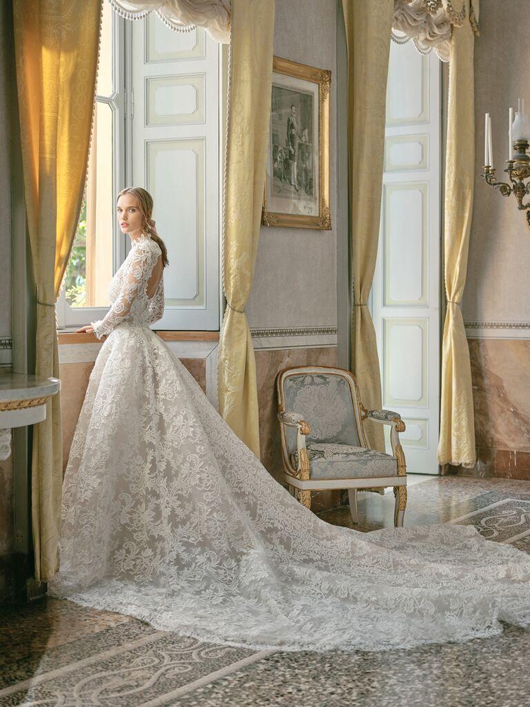 monique lhuillier long-sleeve lace ballgown
