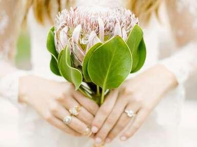 Single stem protea bridal bouquet