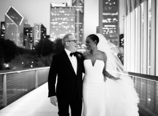 For their wedding at the Art Institute of Chicago, Tamiya (Miya) Beathea (43 and president of a philanthropic online boutique) and Brian Dubin (54 and