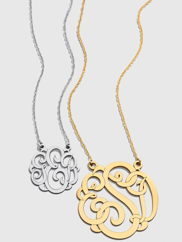 Silver and gold monogram wedding necklaces