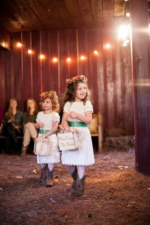 Ivory Flower Girl Dresses with Green Sashes