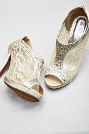 Champagne Colored Shoes with Lace