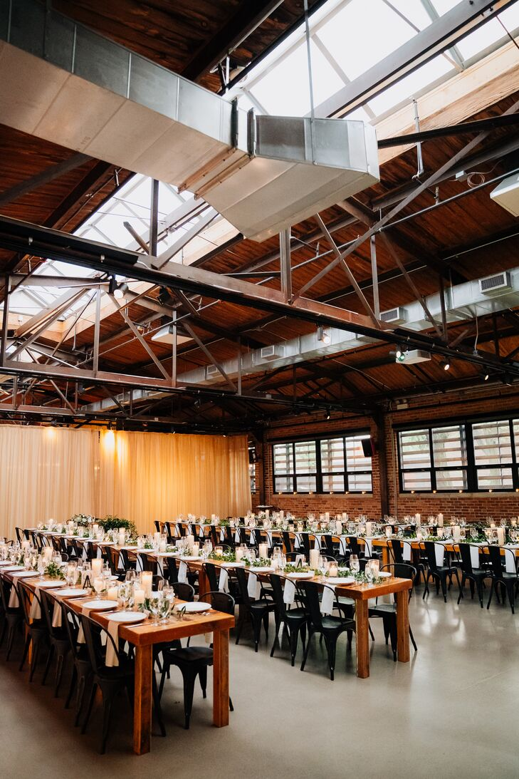 Long Wood Tables Set with Industrial Bistro Chairs at Ovation Chicago Reception