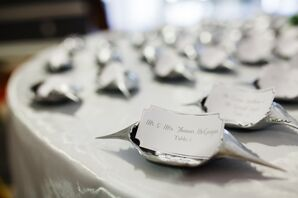 Silver Crab Shell Name Cards