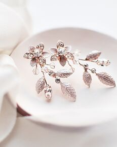 USABride Katie Floral Crystal Earrings (JE-4156-RG) Wedding Earring photo