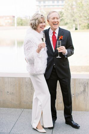 Couple Holding Champagne Flutes at the Modern Art Museum of Fort Worth in Texas