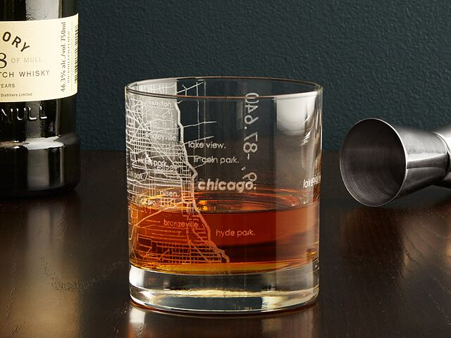 Map etched tumbler glasses