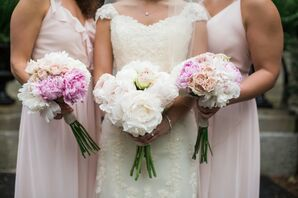 Ivory and Pink Peony Bouquets