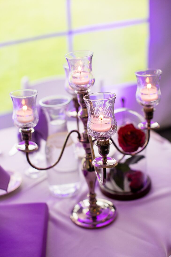 Beauty-and-the-Beast-Inspired Candelabras and Glass-Domed Rose Centerpieces