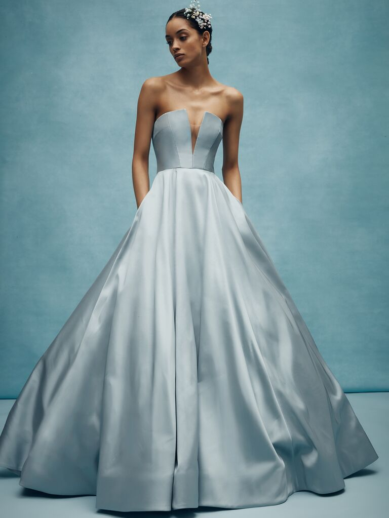 Anne Barge Spring 2020 Bridal Collection strapless plunging A-line wedding dress in blue