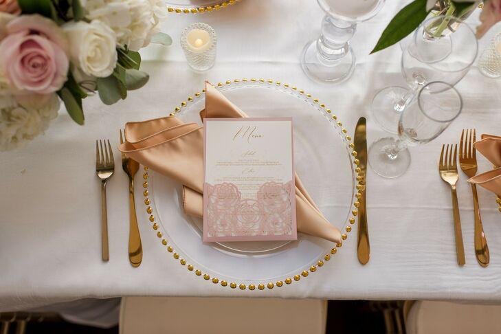 Gold-and-Blush Place Settings at Boston Wedding