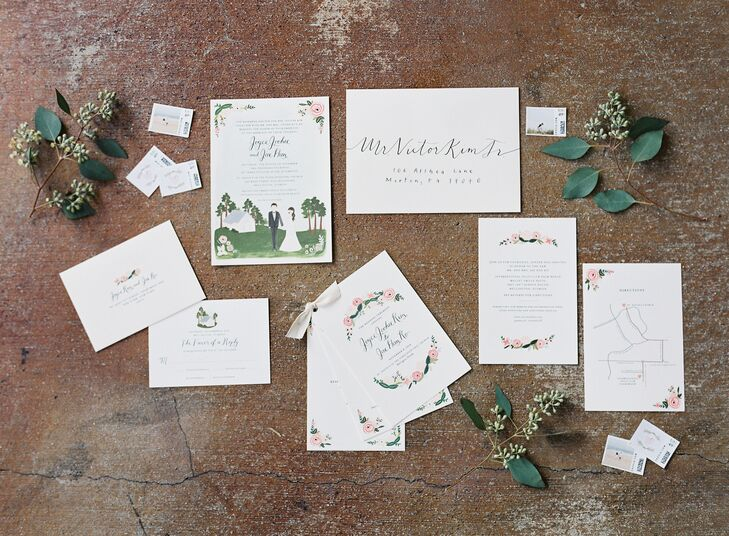 """Stamped with a wax seal, each of the couple's 165 guests received a """"J + J"""" labeled invitation suite accented with a custom drawing of the couple and St. David's in the Pines Episcopal Church."""