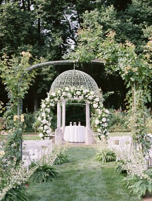 Gazebo Ceremony with Botanical Arches and Aisle Decorations