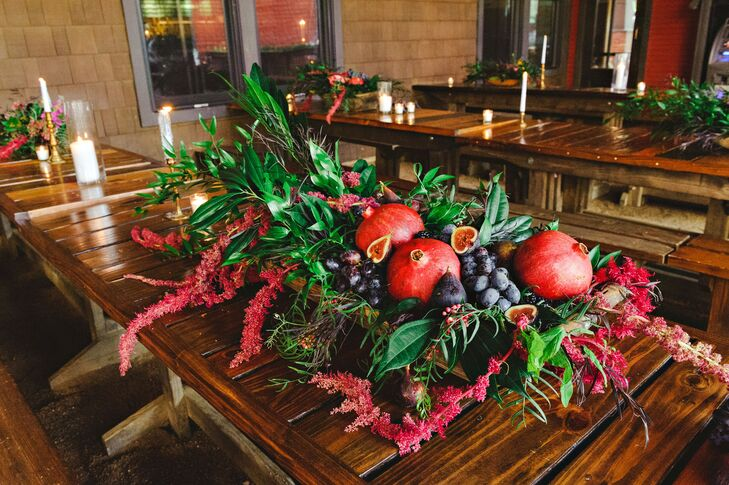 Centerpiece with Pomegranates, Berries, Astilbe and Greenery