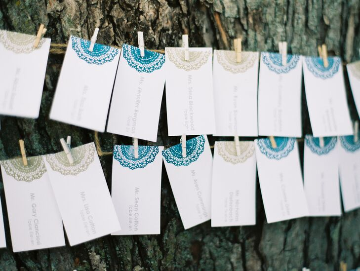 The couple decorated their shabby chic escort cards with navy and tan doilies to match the shabby chic wedding theme.