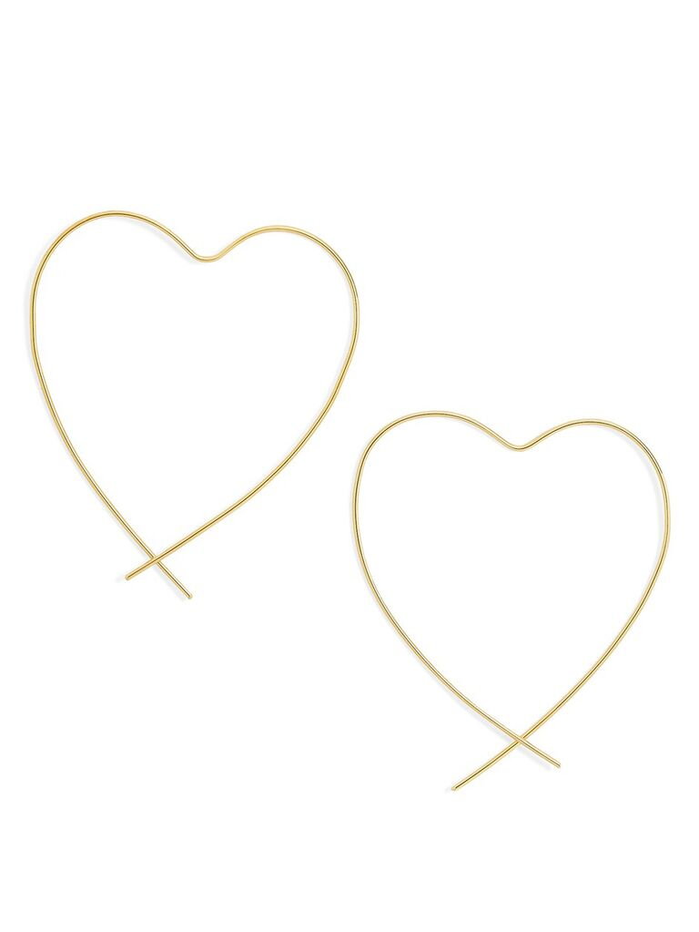 Gold heart earrings cute Valentine's Day gift for her