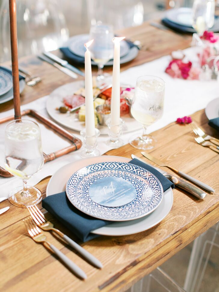 Grecian-Inspired Patterned Blue Plates