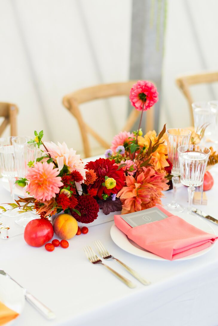 Vibrant Dahlia Centerpiece at Rooftop Garden Wedding in Brooklyn