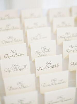 Elegant Black-and-White Calligraphy Escort Cards