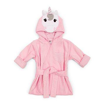 Hooded Bathrobe For Baby - Pink Unicorn
