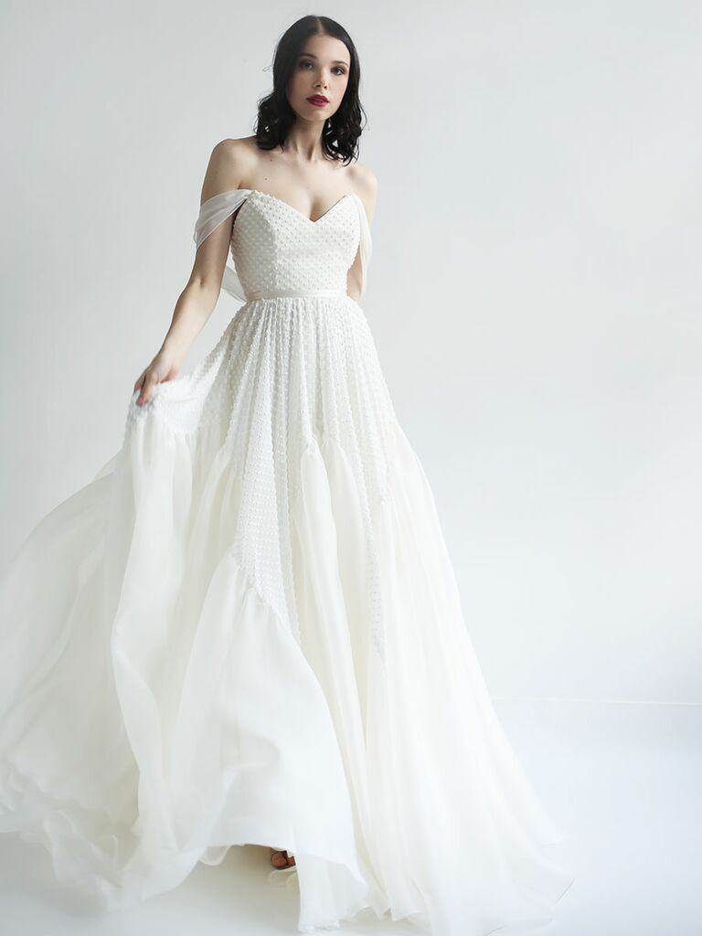 aadeae64fa4 Leanne Marshall Fall 2018 wedding dresses embroidered gown with  off-the-shoulder sleeves