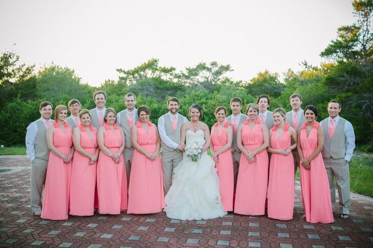 58a4af214e1 Pink and Gray Wedding Party Attire