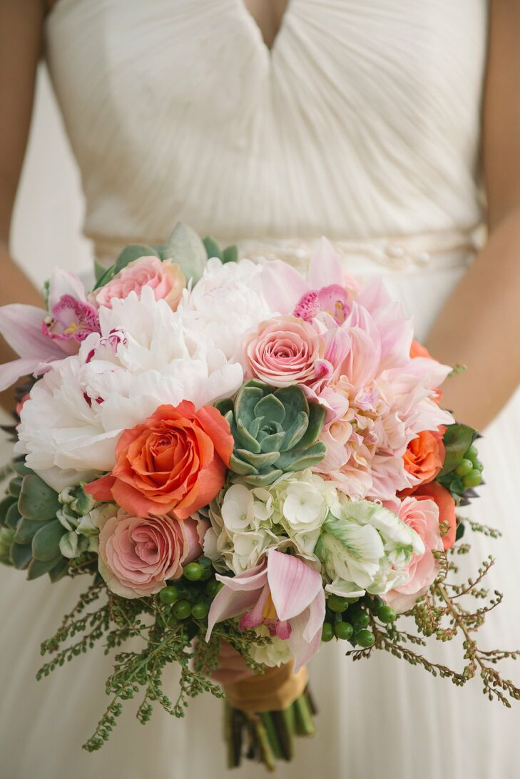 Stephanie's bouquet was filled with peonies, roses, hydrangeas, orchids and succulents in shades of pink, coral and green.