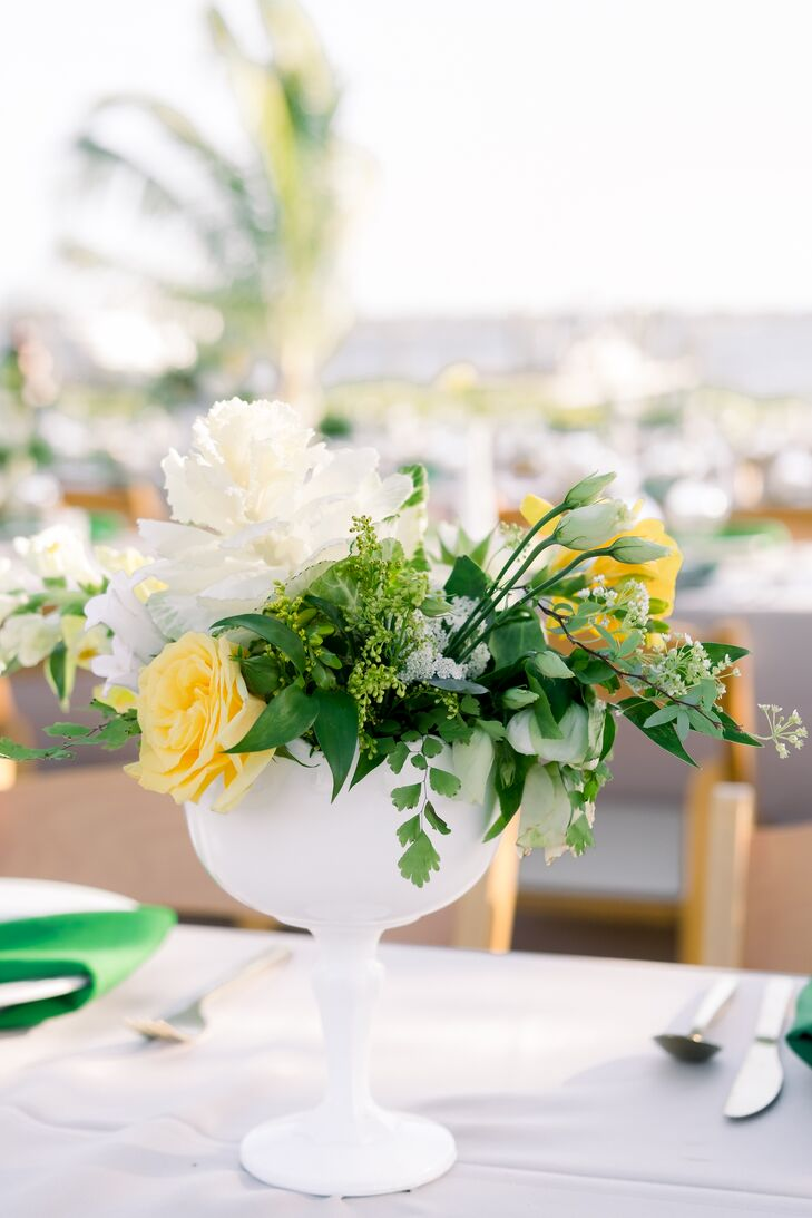 Simple Centerpiece with Greenery, Yellow Roses and White Flowers